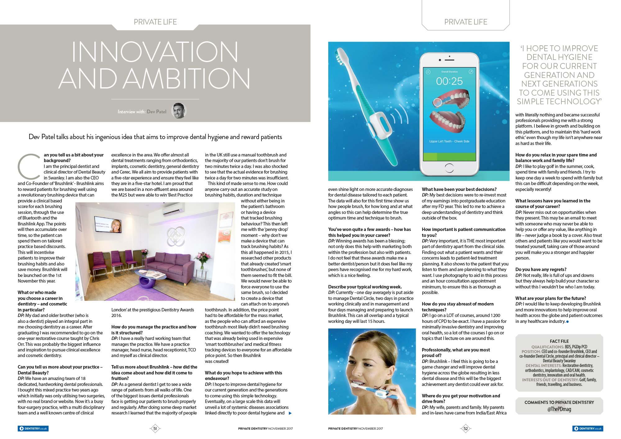 Private Dentisry Magazine Interview DP 11 11 17